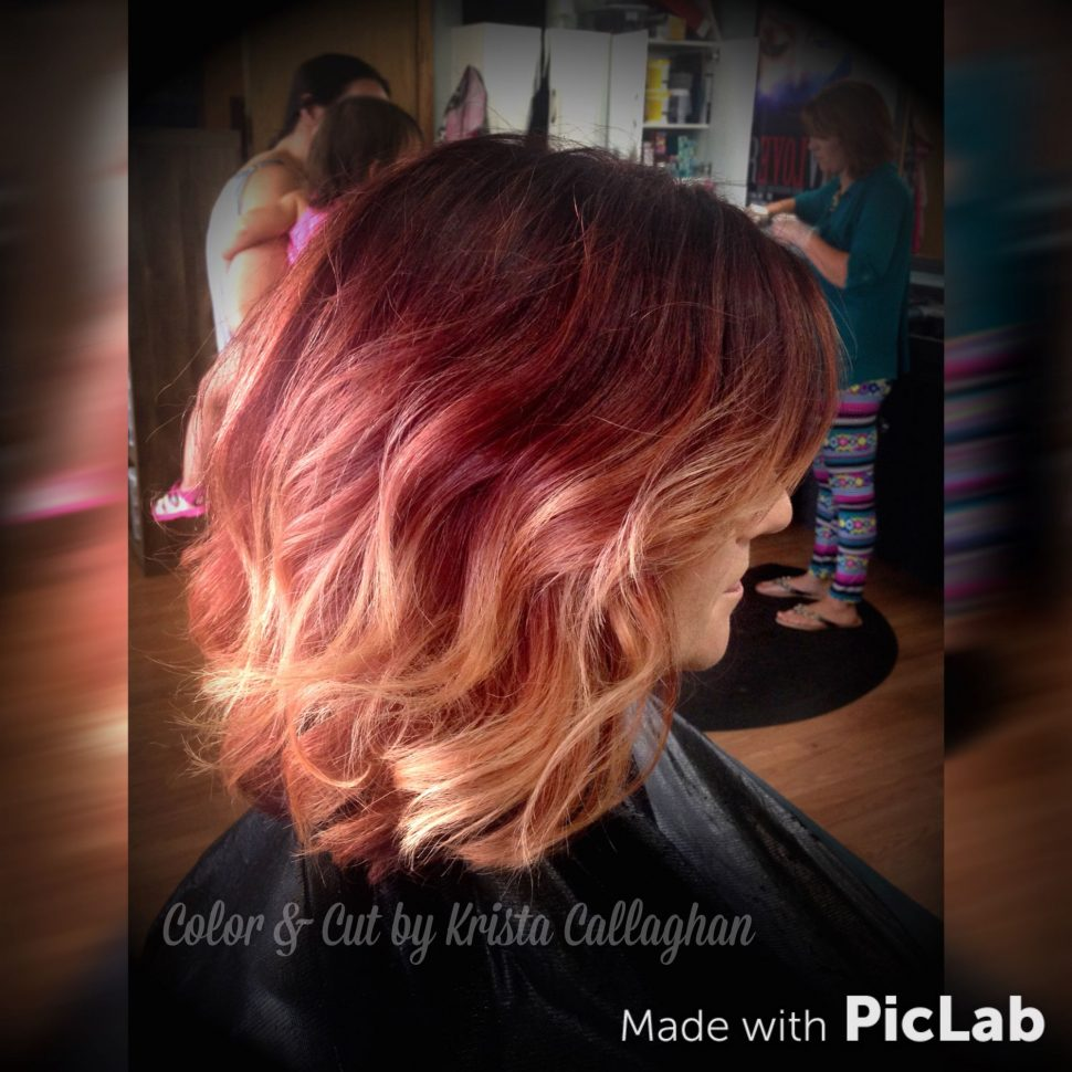 Short Ombre Hairstyles trends 2020 Red to blonde ombré