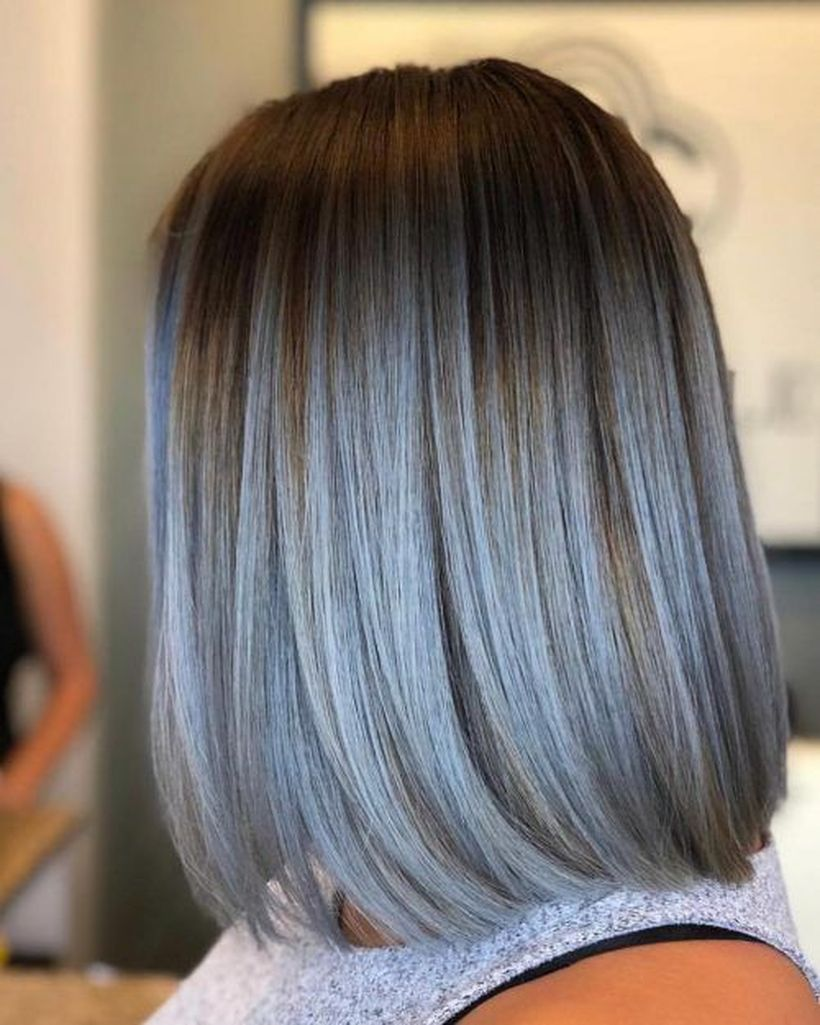 Short Ombre Hairstyles trends 2020 black to blue
