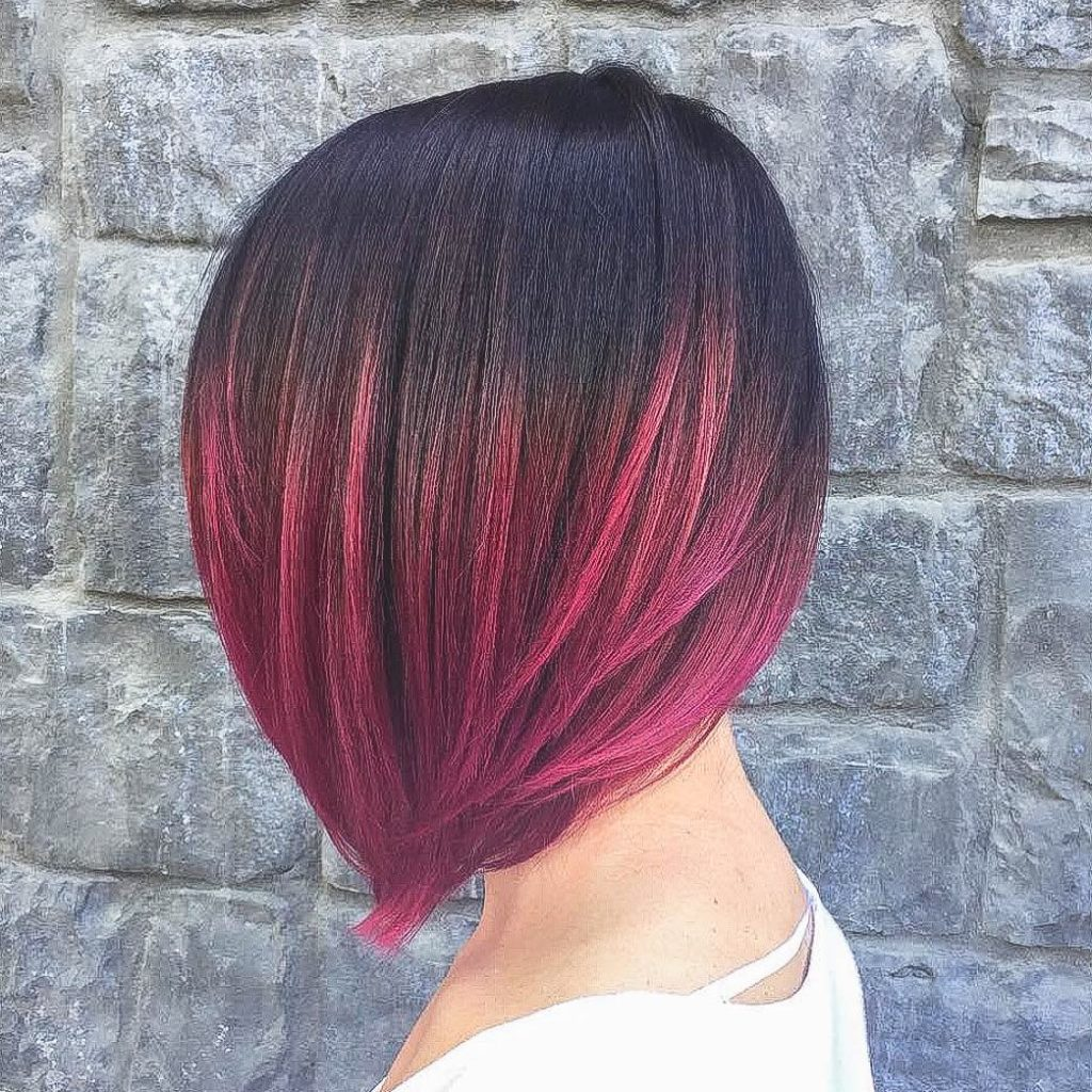Short Ombre Hairstyles trends 2020 black to red ombré