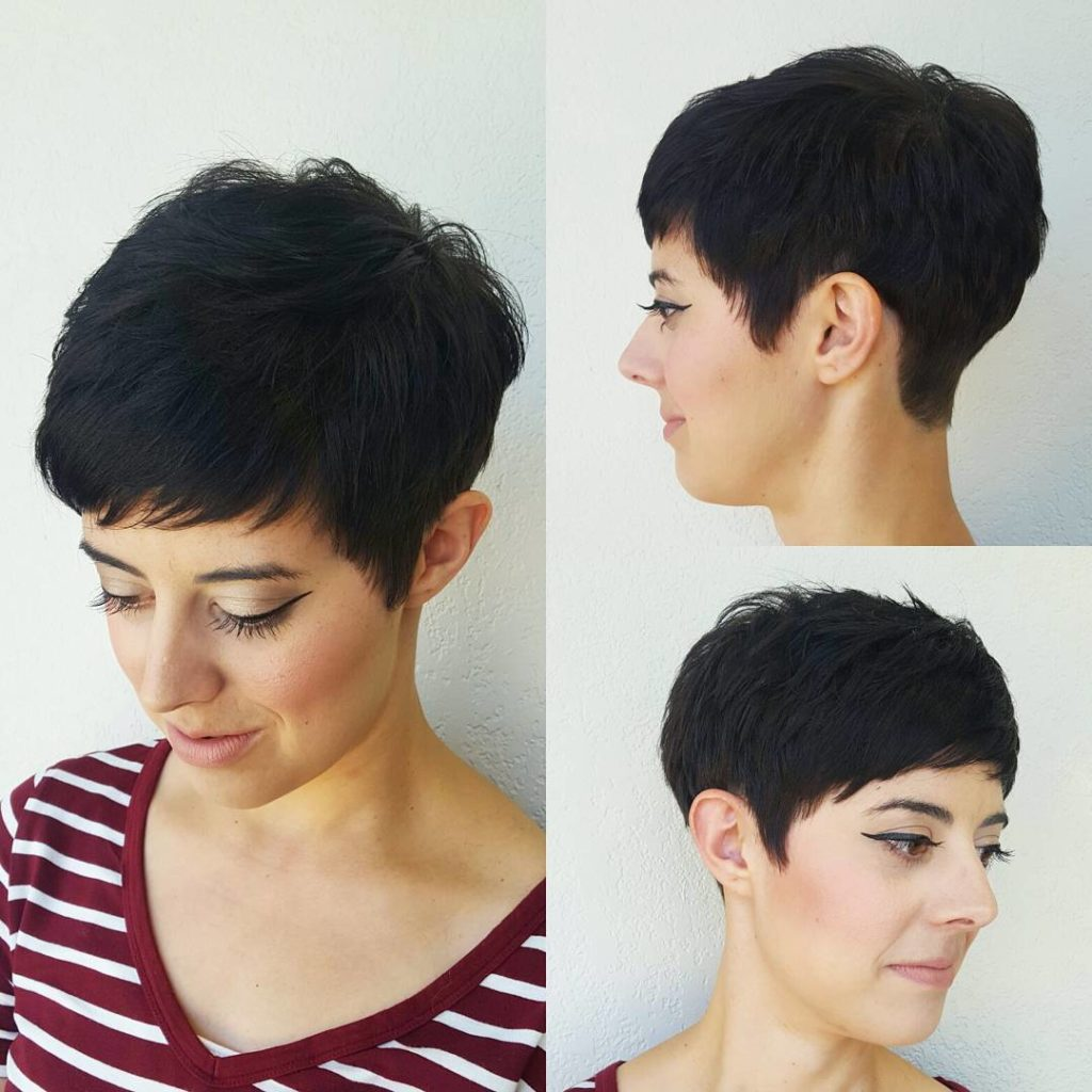 Short Pixie Haircuts trends 2020 leather black color with bang