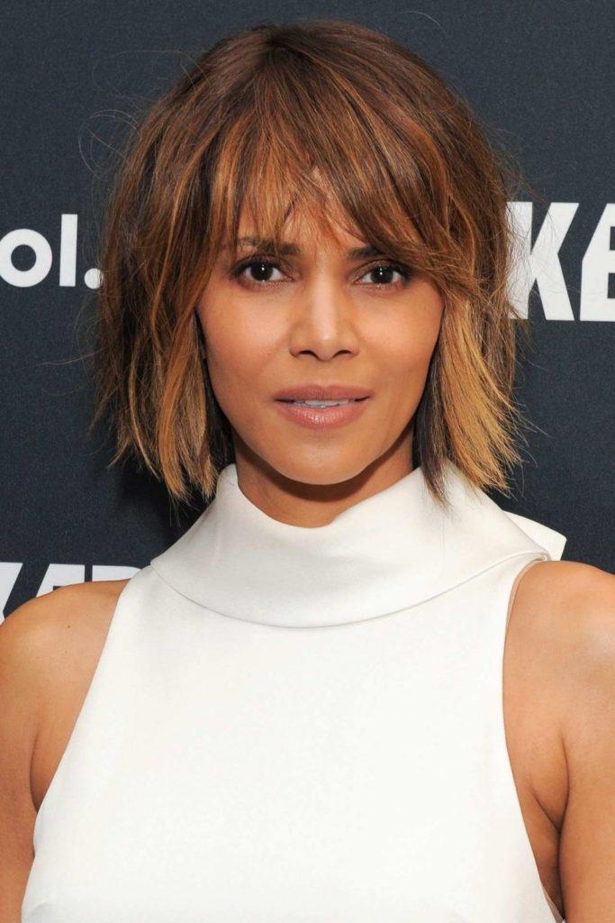Short Shag Haircuts trends 2020 Caramel Half Up Half Down Bang Hairstyle