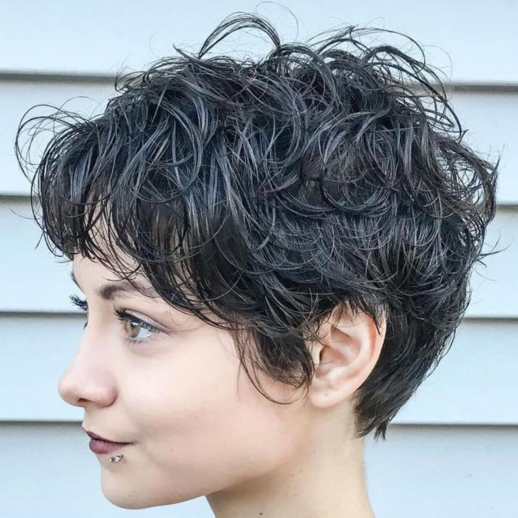 Short Shag Haircuts trends 2020 Messy Leather Black Hairstyle