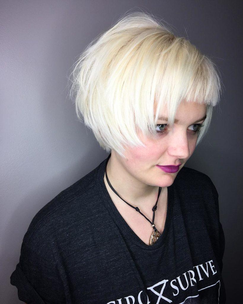 Short Shag Haircuts trends 2020 Platinum blonde square cut with bang