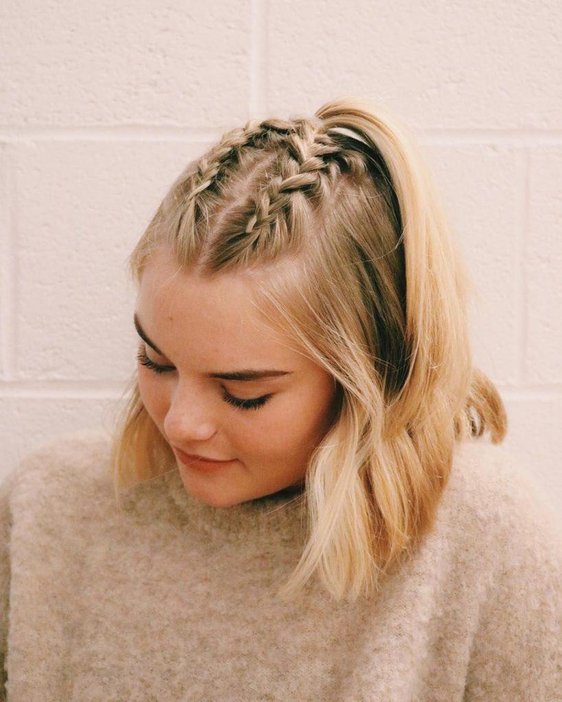 Short braided hairstyles trends 2020 baby blonde Ladder braid
