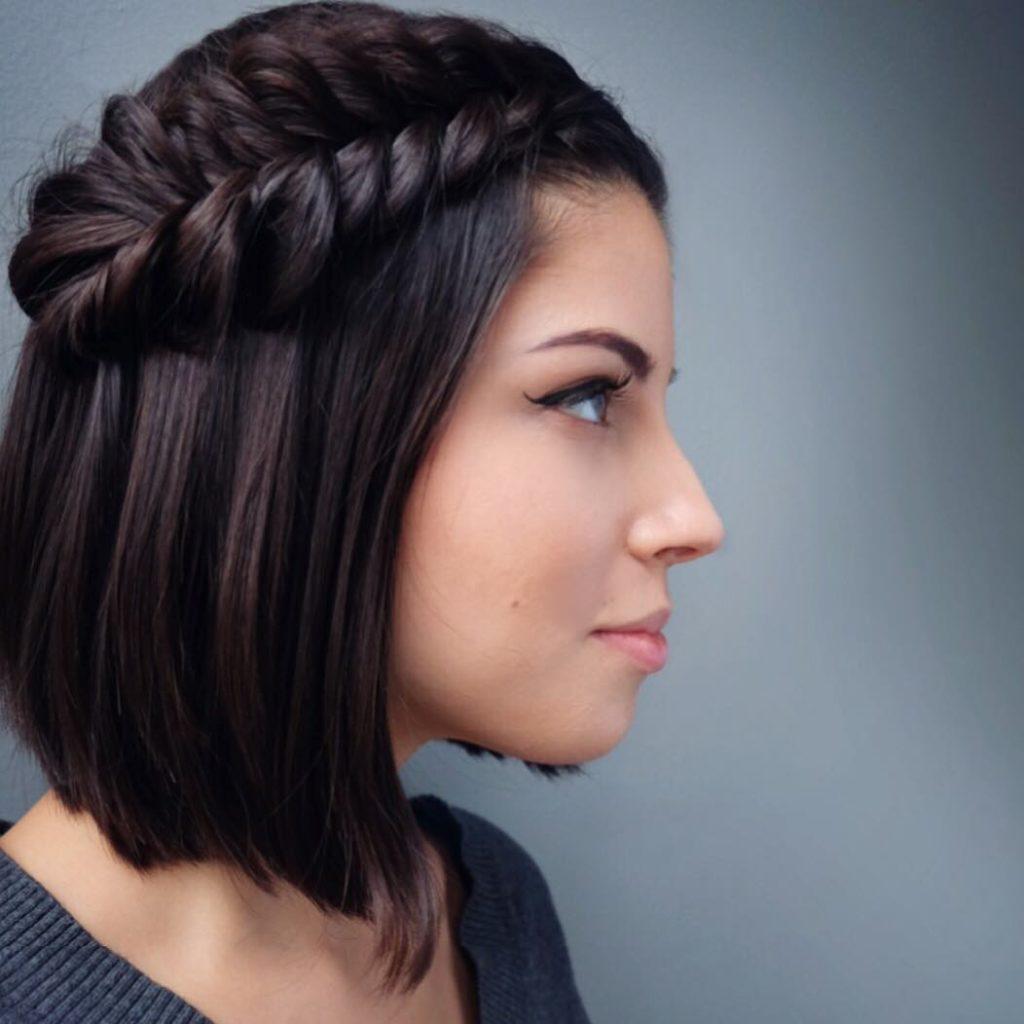 Short braided hairstyles trends 2020 dark chocolate brown reverse fishtail 1