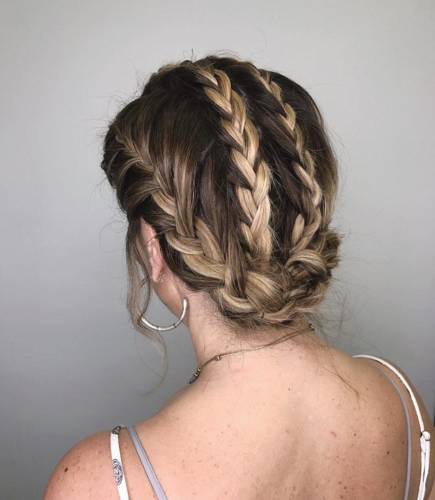 Short braided hairstyles trends 2020 blodne french braid 1