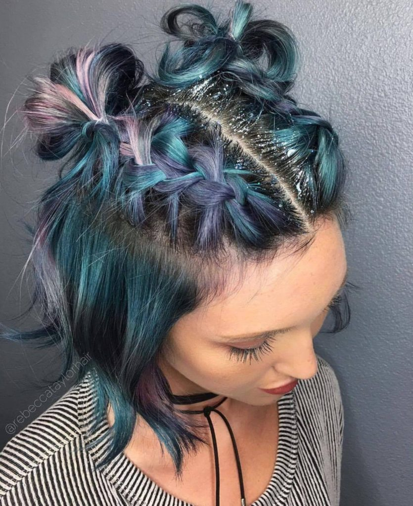 Short braided hairstyles trends 2020 knot buns 1