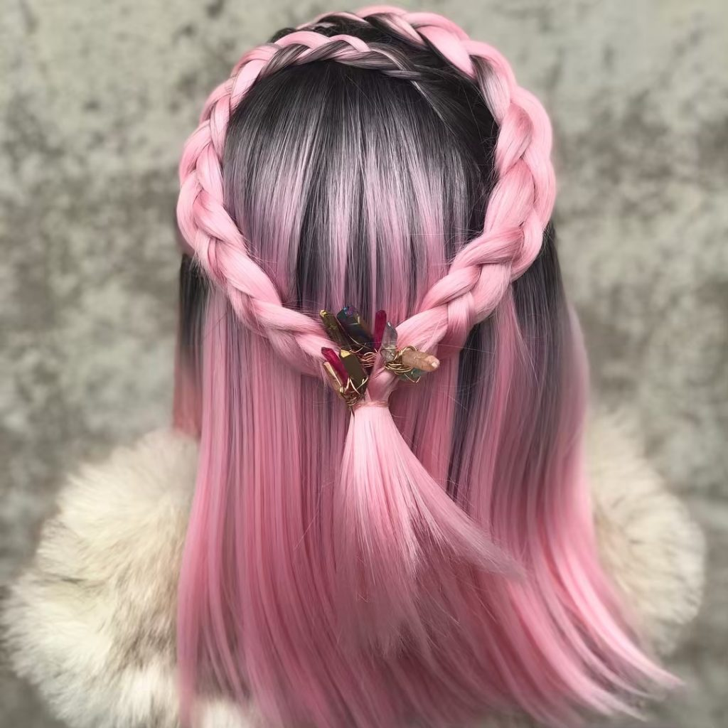 Short braided hairstyles trends 2020 pink waterfall 2