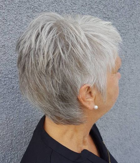 Airy Gray Pixie with Lots of Layers