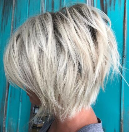 Ash Blonde Layered Bob with Black Root 1