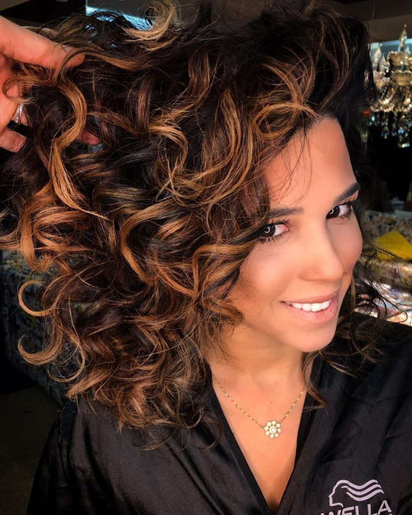 Beautiful Curly Caramel Highlights