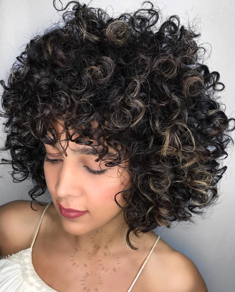 Big Curls with Bangs