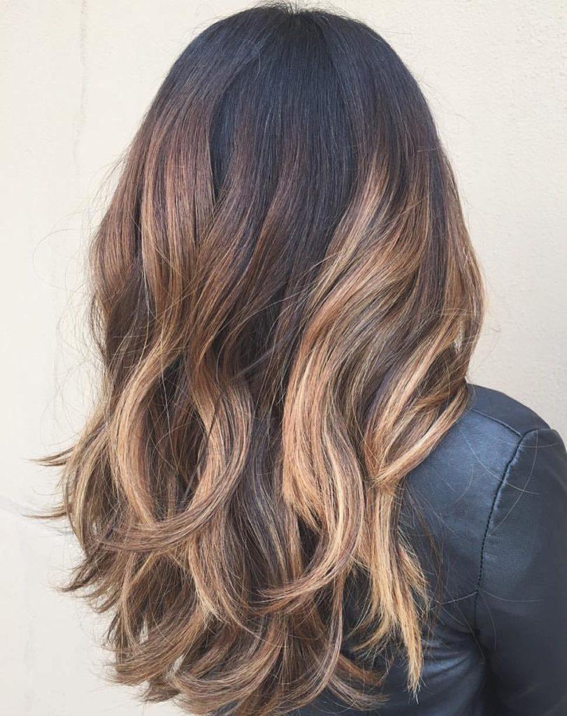 Black Colored Hair with Caramel Balayage 1