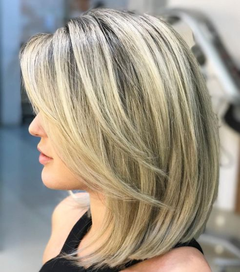 Blonde A line Lob with Face Framing Layers