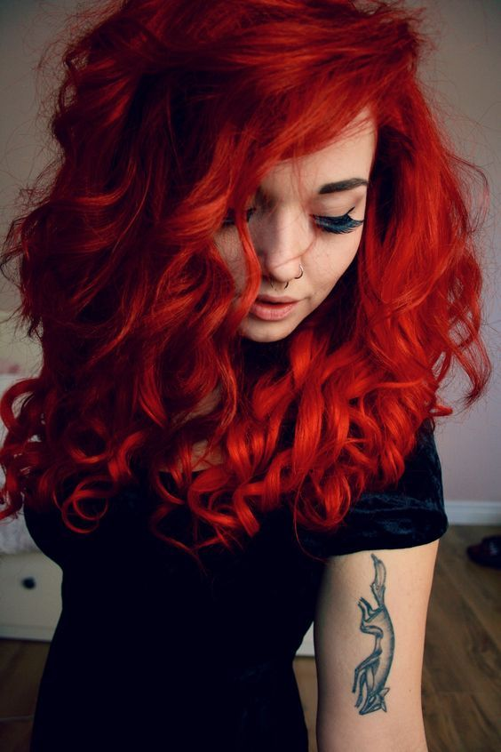 Bright Red with Tight Ringlets