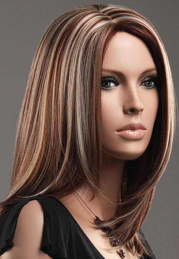 Brown Blonde Straight Mid length Highlights