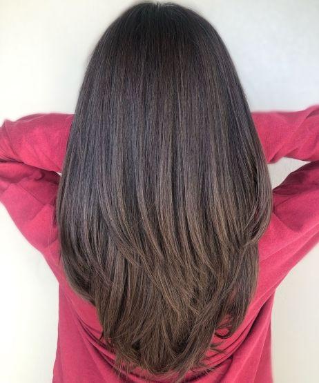 Brunette V Cut for Thick Straight Hair
