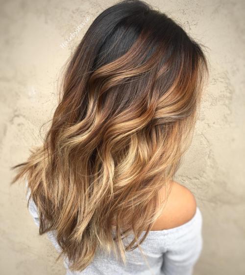 Brunette to Blonde Balayage Waves