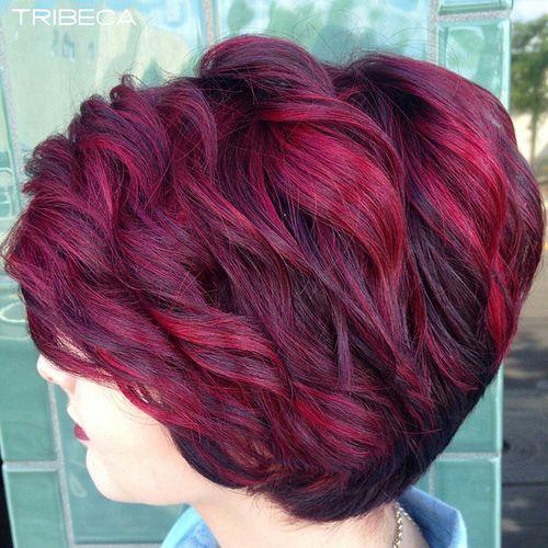 Burgundy Highlighted Short Hair