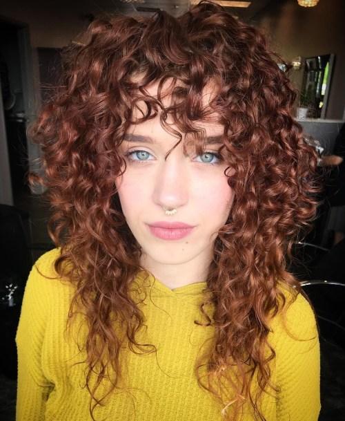 Caramel Brown Natural Layered Hair with Bangs