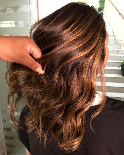 Caramel Highlights on Brown and Dark Brown Hair