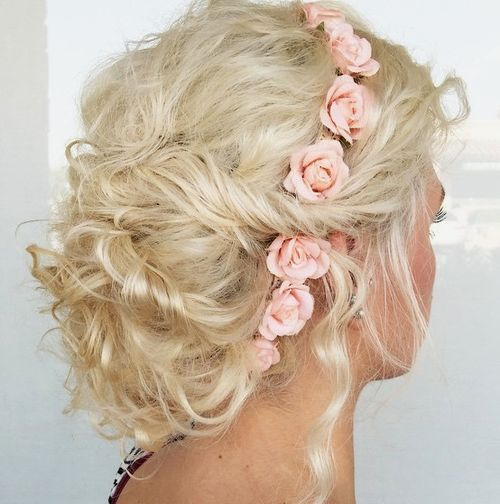 Curly Floral Updo