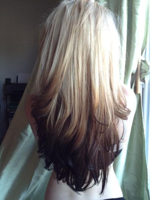 Cute Long Hairstyle for Straight Hair Blonde to Dark Brown Ombre