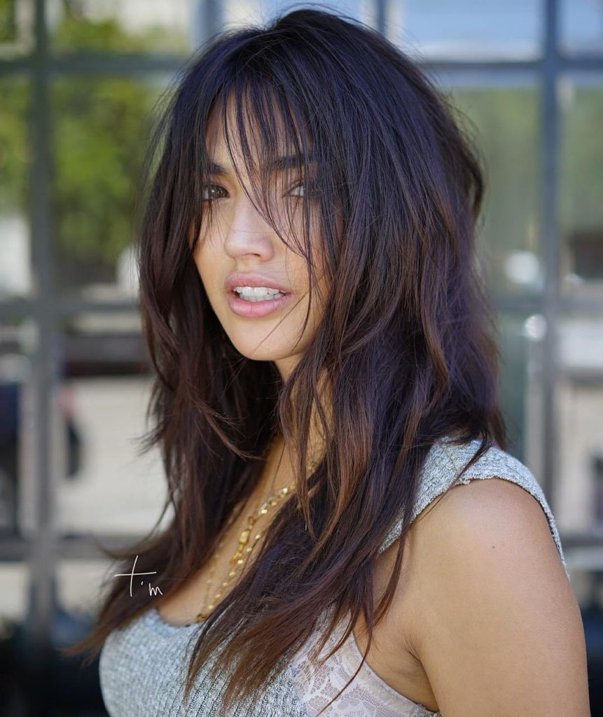 Dark Brown Hair with Bangs and Layers
