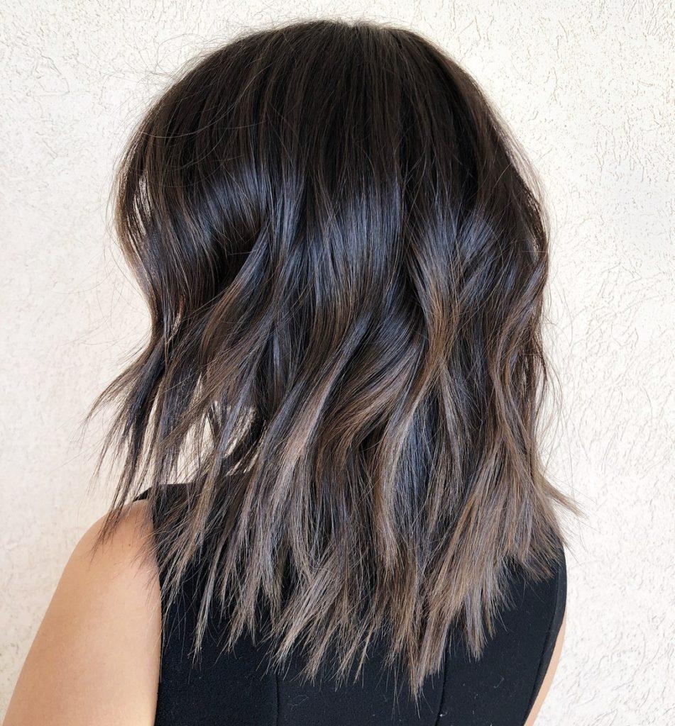 Dark Brown Layered Choppy hairstyle