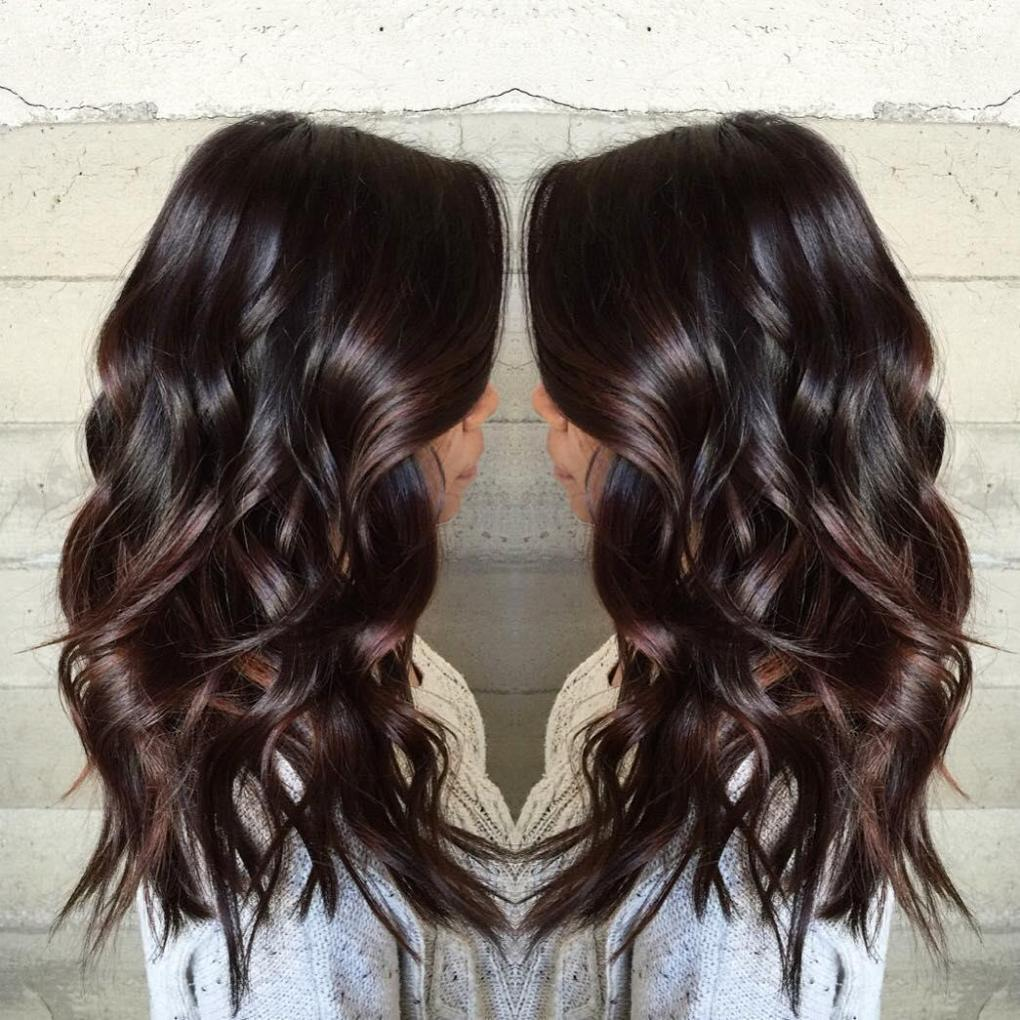 Dark Chocolate Hair with a Red Tint