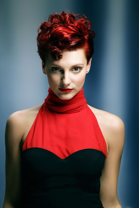 Elegant short curly red hair