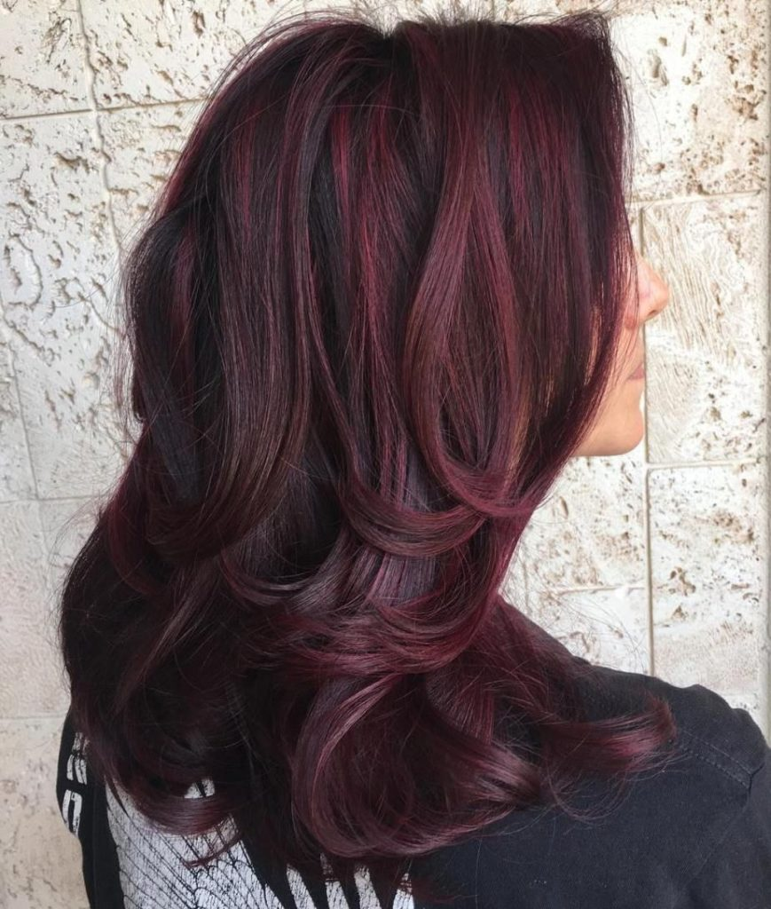 Espresso Hair with Red Wine Highlights