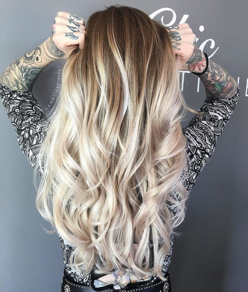 Extra Long Ash Blonde Layered Hair