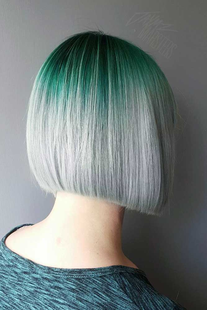 Green To Grey Ombre Bob Hairstyle
