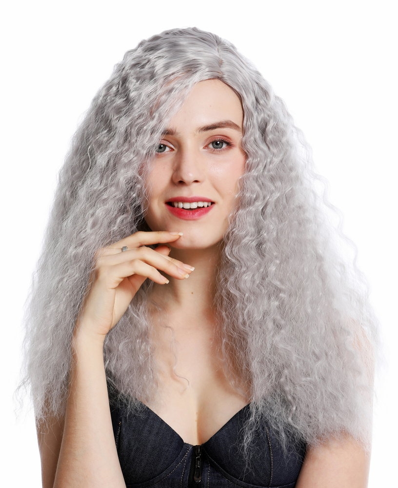 Hair Grey Curly and Rounded