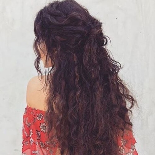 Half Up Long Curly Hairstyles
