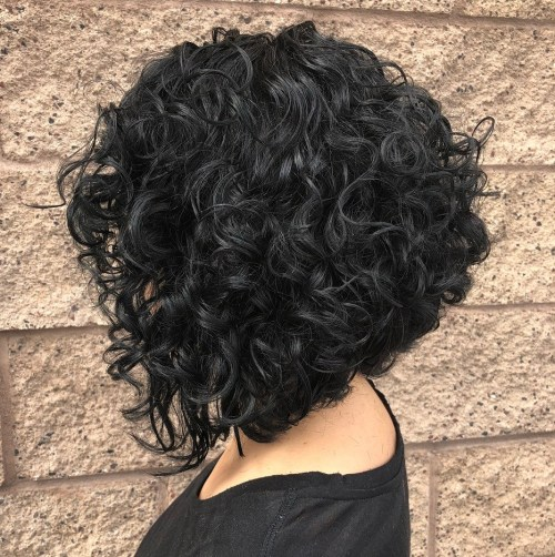 Inverted Black Bob for Curly Hair 1
