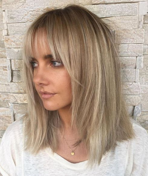Lob with Face Frame Layers and Bangs