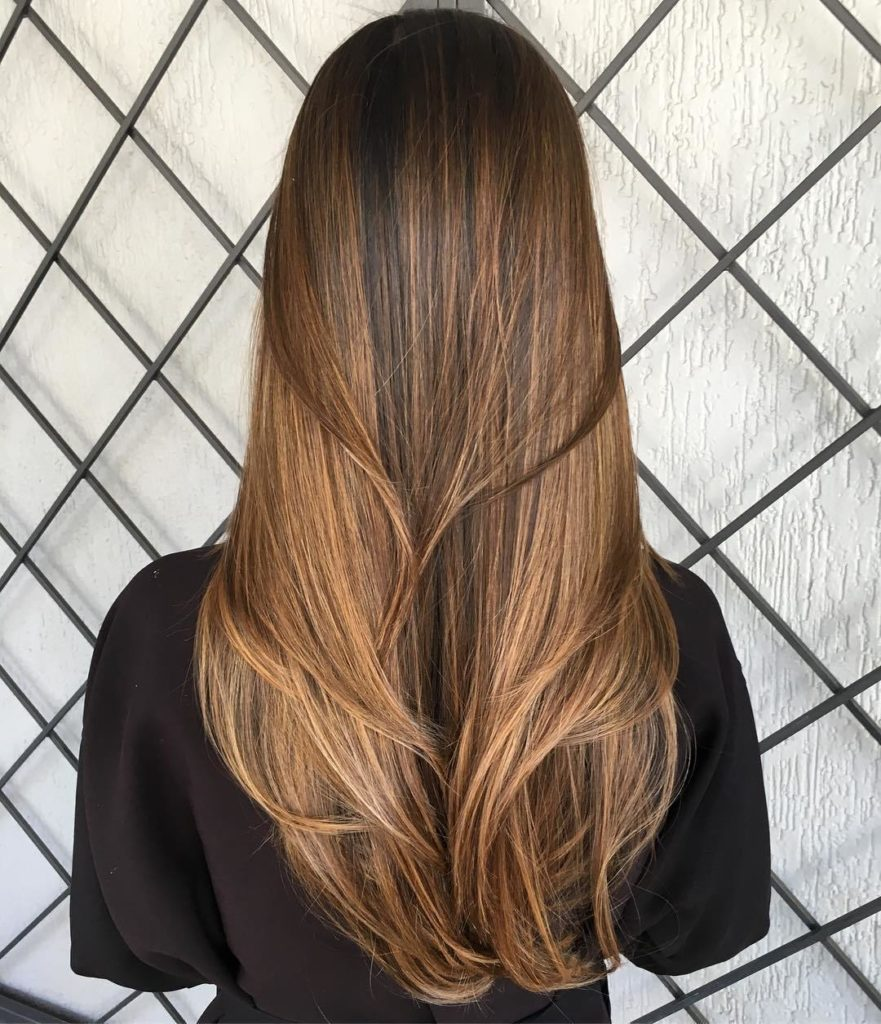 Long Brown Hair with V Cut Layers