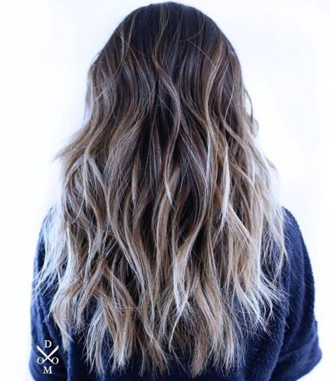 Long Brown Shag with Blonde Highlights