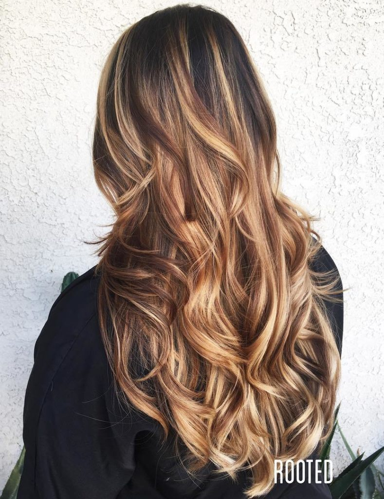 Long Curly Hair with Melted Balayage.