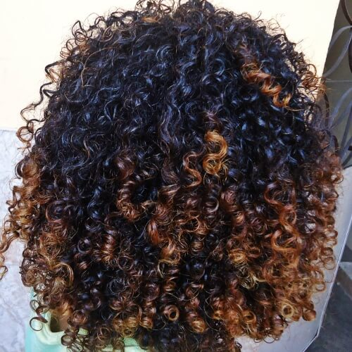 Long Curly Hairstyles with Colored Tips