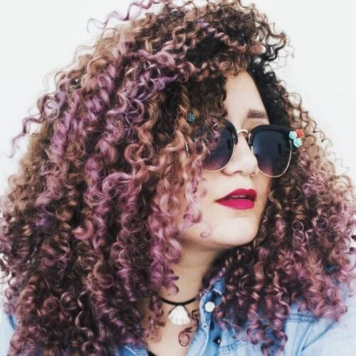 Long Curly Hairstyles with Colorful Highlights