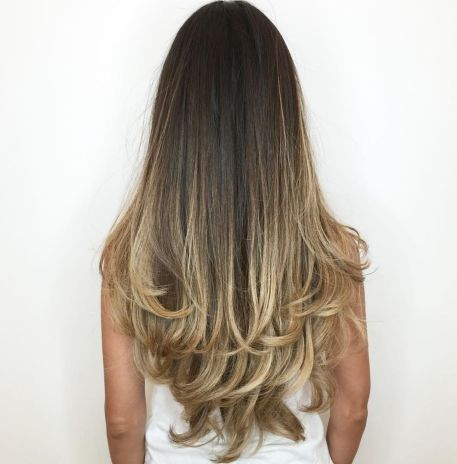 Long Dark Hair with Blonde Contour Balayage
