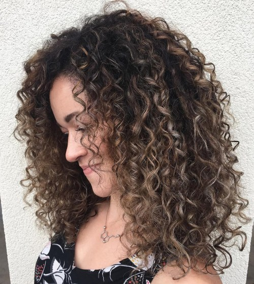 Long Highlighted Hairstyle with Spiral Curls