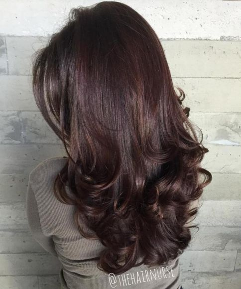 Long Layered Brunette Hair with Curled Ends