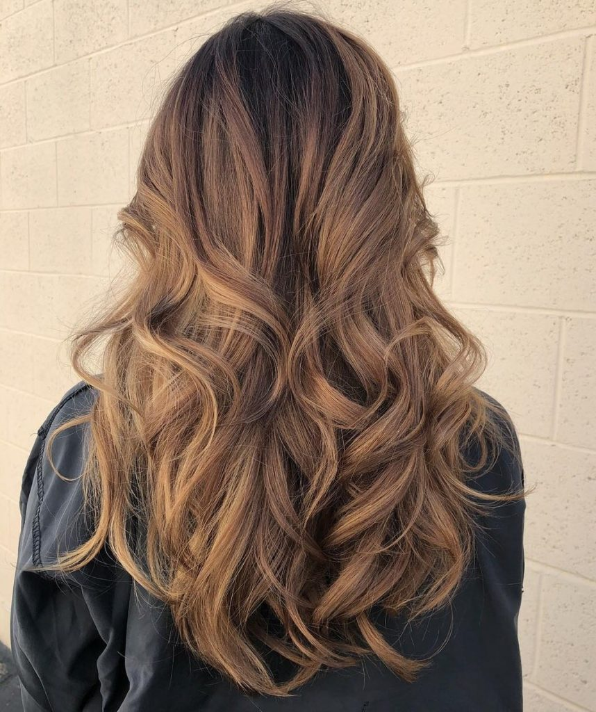 Long Layered Hair with Big Curls.