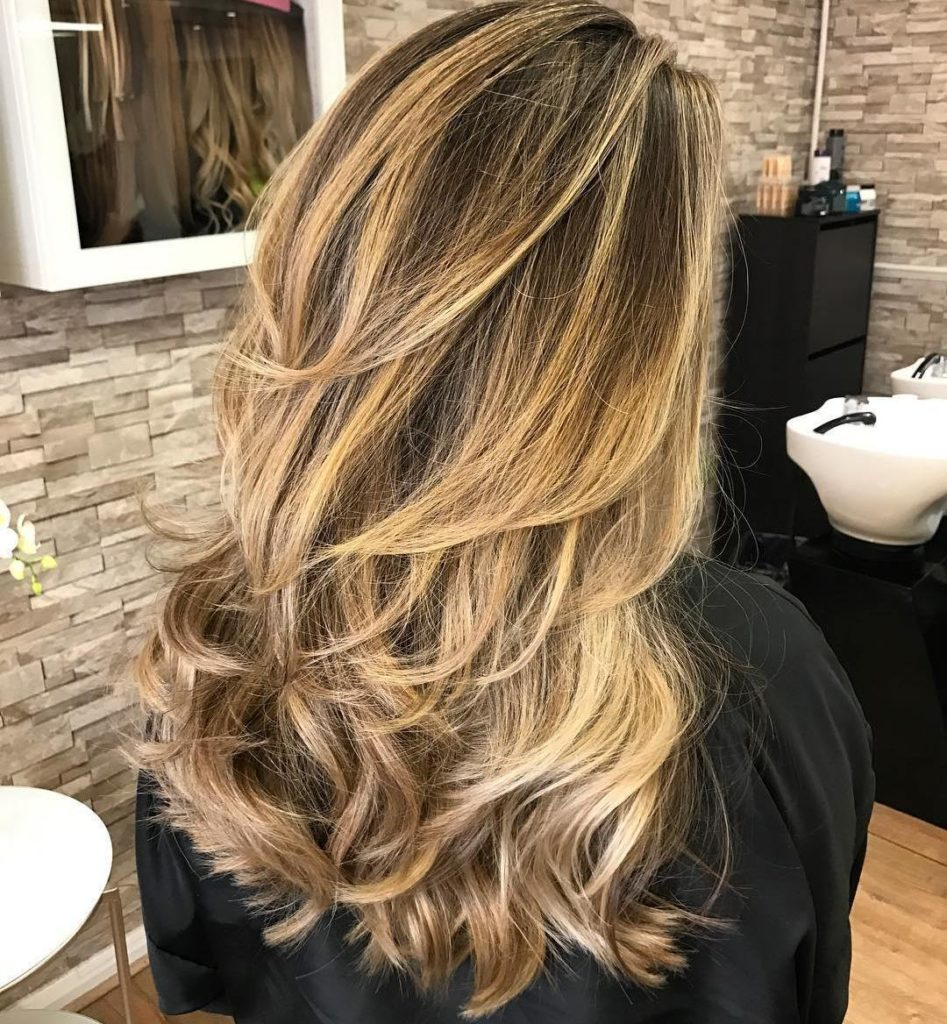 Long Layered Half Curled Hair with Golden Beige Balayage