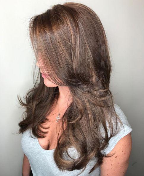 Long Layered Light Chocolate Brown Cut 1