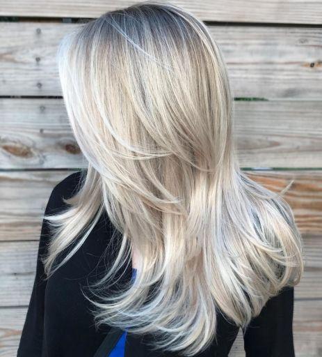 Long Layered White Blonde Hair